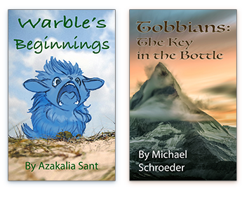 Books available through Kiiai: 'Warble's Beginnings' and 'Tobbians'